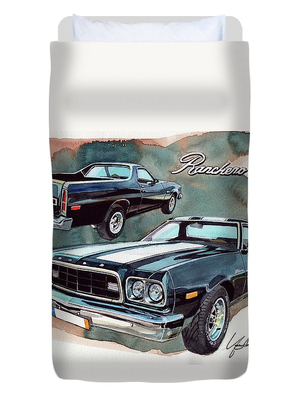 Ford Duvet Cover featuring the painting Ford Ranchero 500 by Yoshiharu Miyakawa