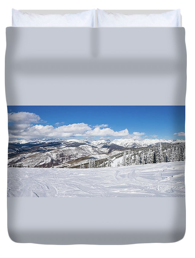 Scenics Duvet Cover featuring the photograph Forest Covered By Snow With Skiing by Miralex