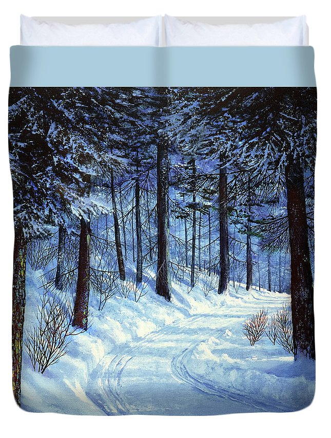 Landscape Duvet Cover featuring the painting Forest Road by Frank Wilson