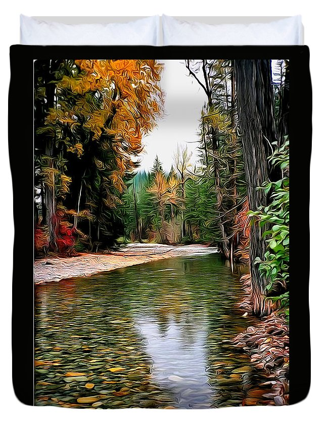 Hogar Duvet Cover featuring the digital art Forest With River by Galeria Trompiz
