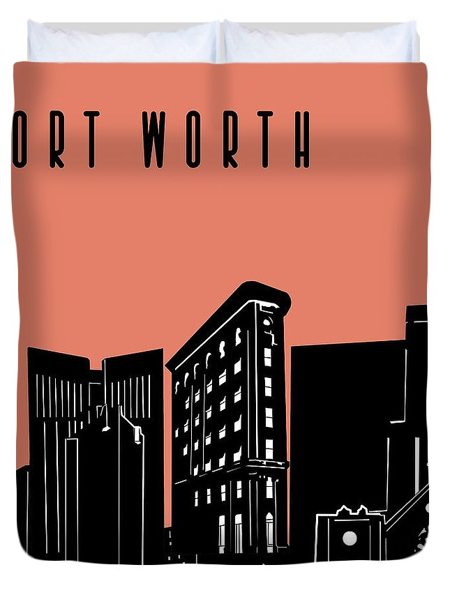 Fort Worth Duvet Cover featuring the digital art Fort Worth Skyline Panorama Red by Bekim Art