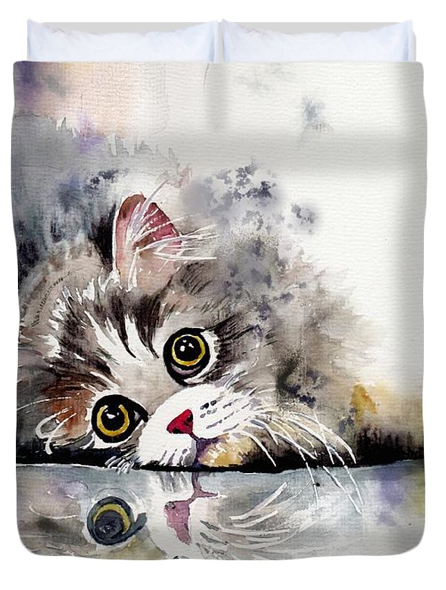 Little Duvet Cover featuring the painting Forty Winks by Suzann Sines