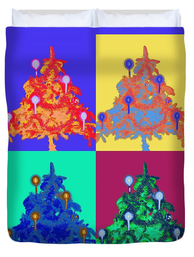 Celebration Duvet Cover featuring the photograph Four Christmas Trees Decorated With by Peter Weber