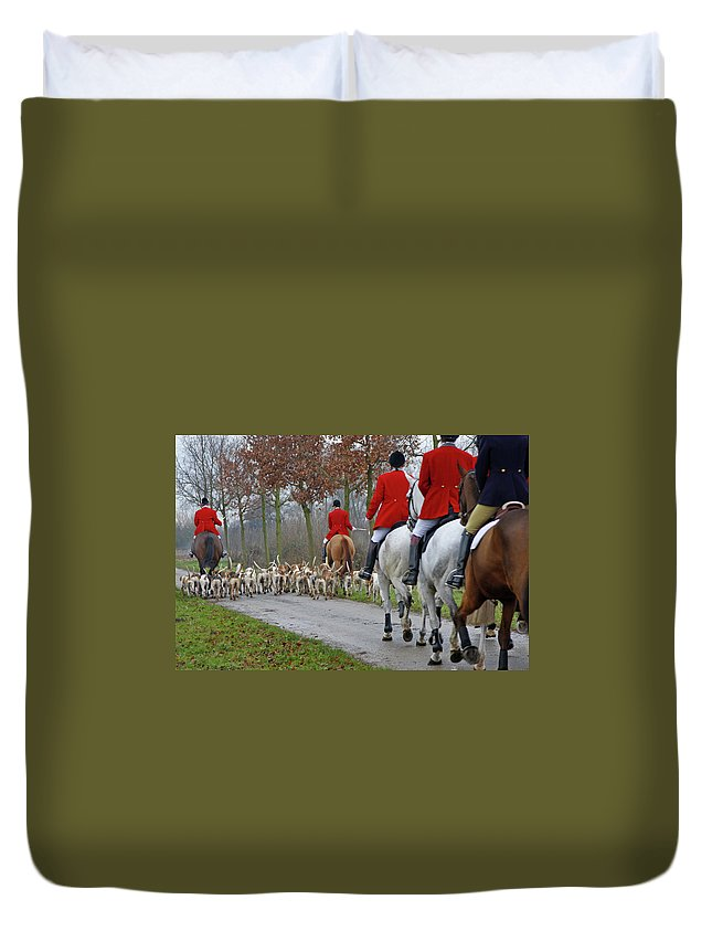 Horse Duvet Cover featuring the photograph Fox Hunt 1 by Lya cattel