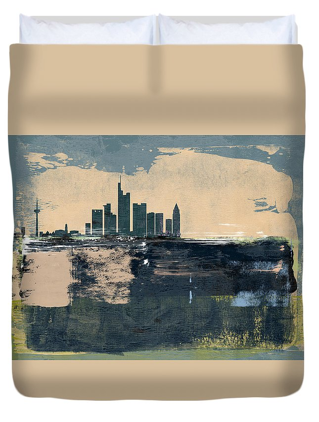 Frankfurt Duvet Cover featuring the mixed media Frankfurt Abstract Skyline II by Naxart Studio