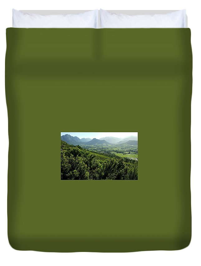 South Africa Duvet Cover featuring the photograph Franschhoek Valley by Ruvanboshoff