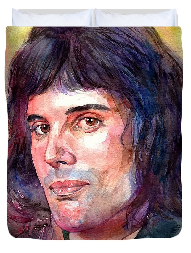 Freddie Mercury Duvet Cover featuring the painting Freddie Mercury young by Suzann Sines
