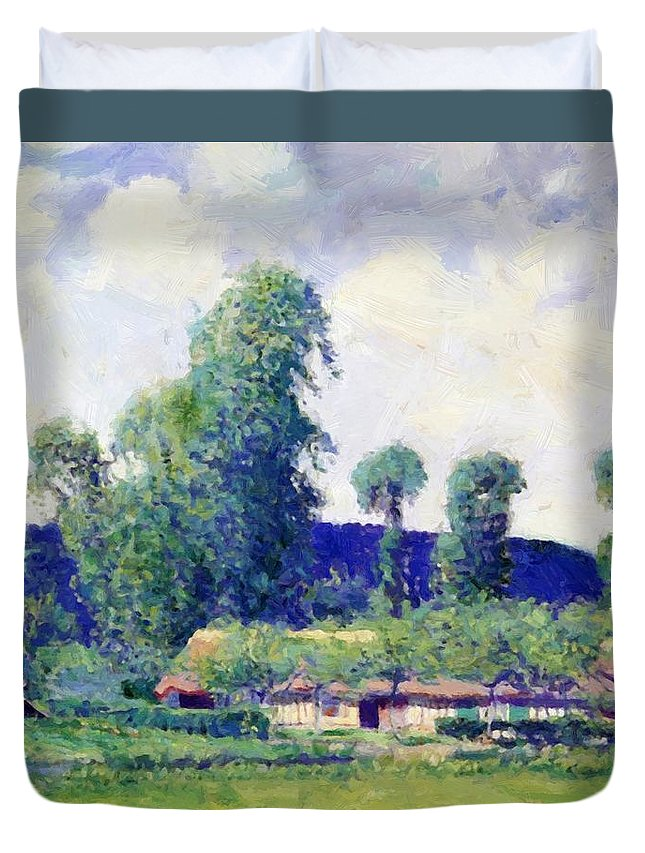 French Duvet Cover featuring the painting French Farm by Guy Rose