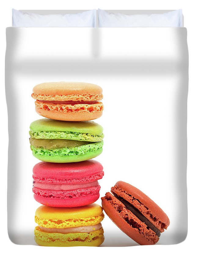 White Background Duvet Cover featuring the photograph French Macaroons by Ursula Alter