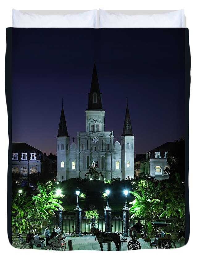Clear Sky Duvet Cover featuring the photograph French Quarter, St. Louis Cathedral by Walter Bibikow
