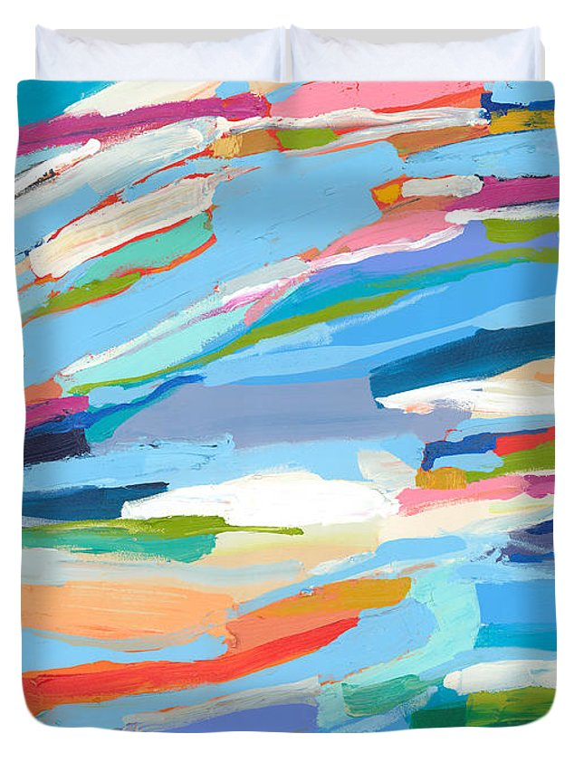 Abstract Duvet Cover featuring the painting Fresh Air by Claire Desjardins