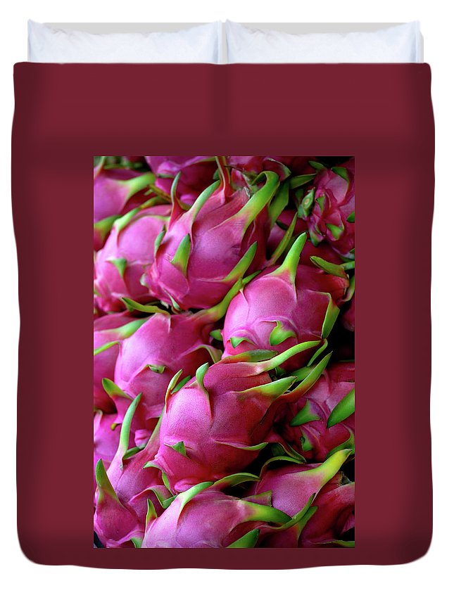 Thailand Duvet Cover featuring the photograph Fresh Dragon Fruit For Sale In A Thai by Enviromantic