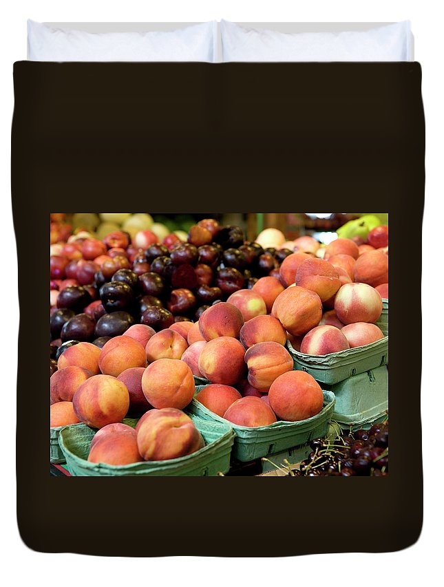 Cherry Duvet Cover featuring the photograph Fresh Peaches At Organic Market by Lillisphotography