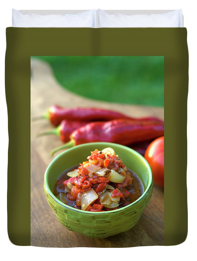 Cutting Board Duvet Cover featuring the photograph Fresh Pepper & Tomato Roasted Vegetable by Funwithfood