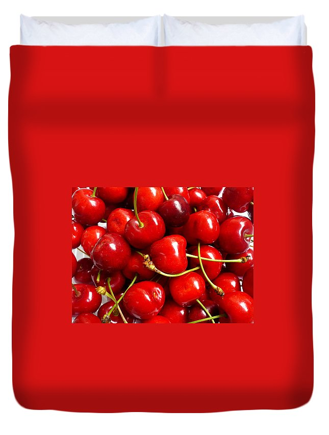Cherry Duvet Cover featuring the photograph Fresh Red Cherries by Vienna Mornings