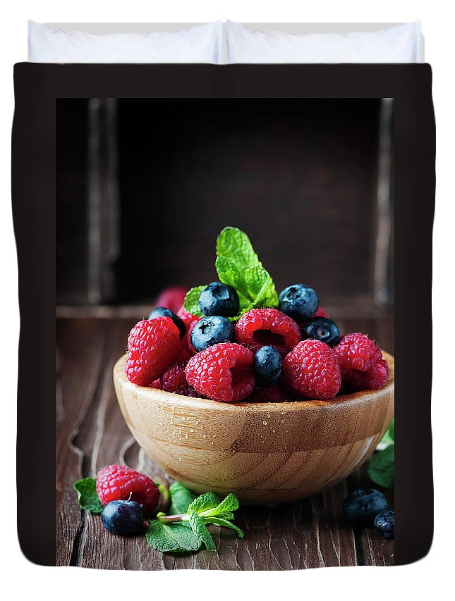 Vitamin Duvet Cover featuring the photograph Fresh Sweet Raspberry And Bluberry by Oxana Denezhkina