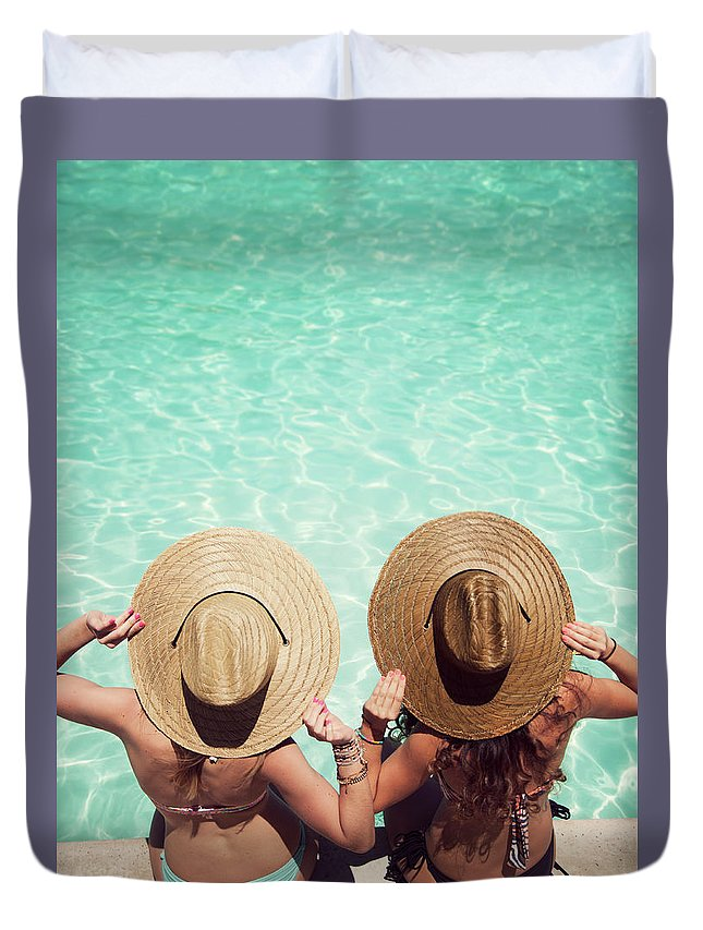 Fedora Duvet Cover featuring the photograph Friends By The Pool by Becon
