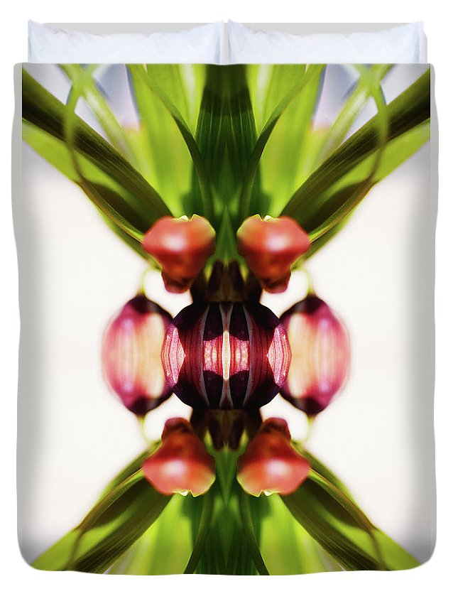 Bud Duvet Cover featuring the photograph Fritillaria Flower by Silvia Otte