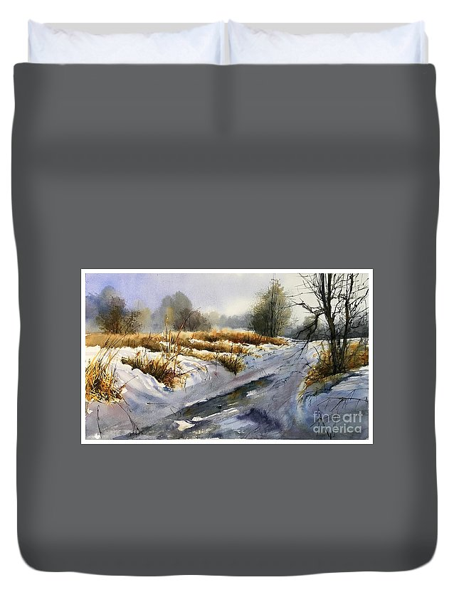Winter Duvet Cover featuring the painting Frozen Brook by Suzann Sines