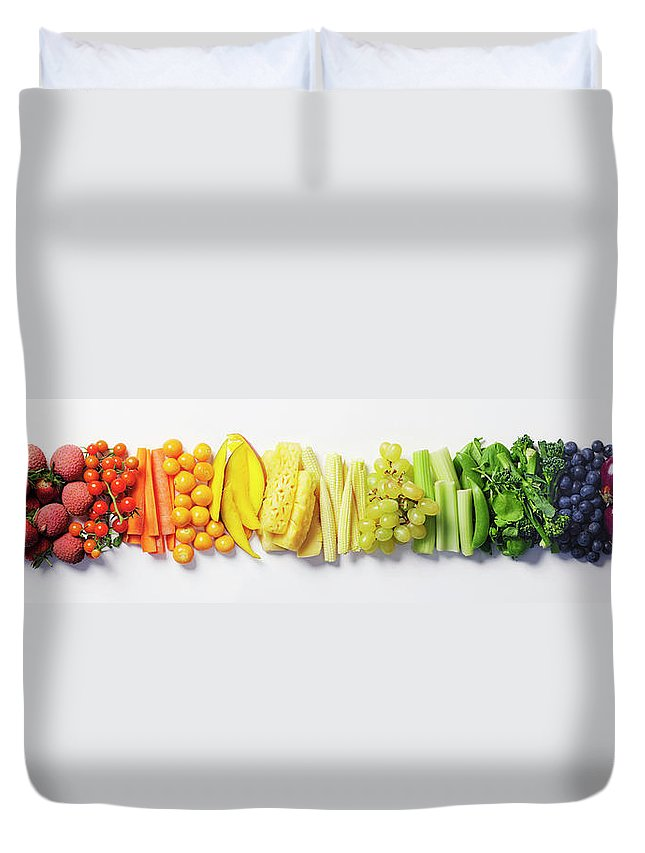 Cherry Duvet Cover featuring the photograph Fruit & Vegetable Color Wheel by David Malan