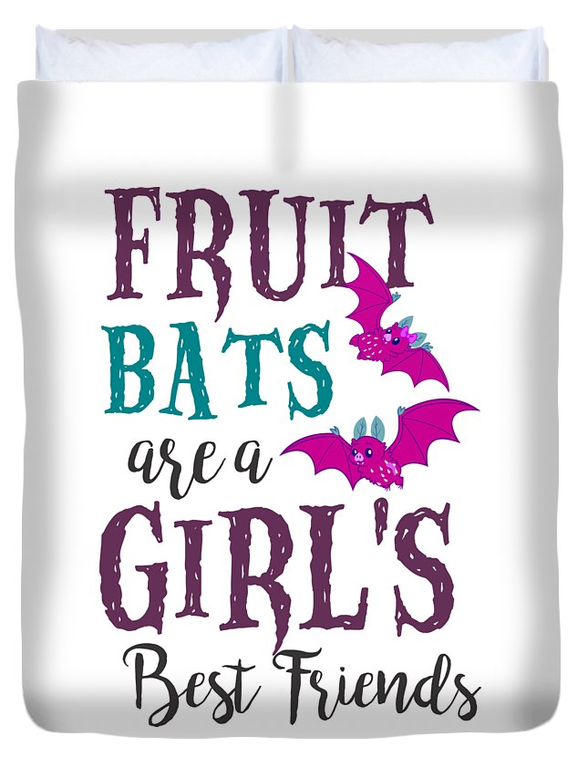 Halloween Duvet Cover featuring the digital art Fruit Bat Conservation Halloween Flying Fox Women Light by Nikita Goel