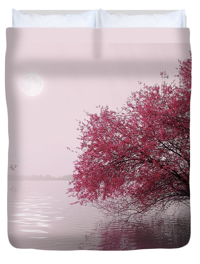 Outdoors Duvet Cover featuring the photograph Full Moon On The Lake by Philippe Sainte-laudy Photography