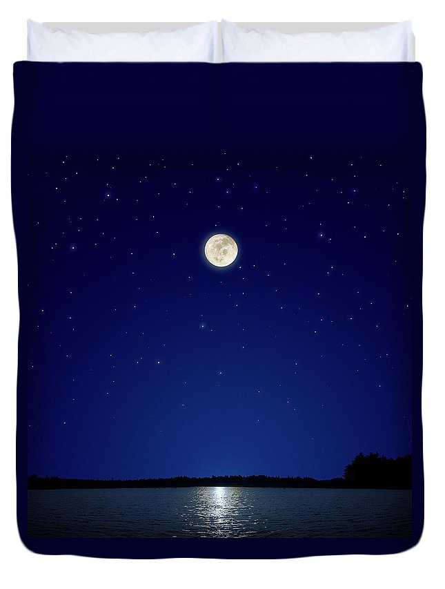 Constellation Duvet Cover featuring the photograph Full Moon Over New Hampshire by Soubrette
