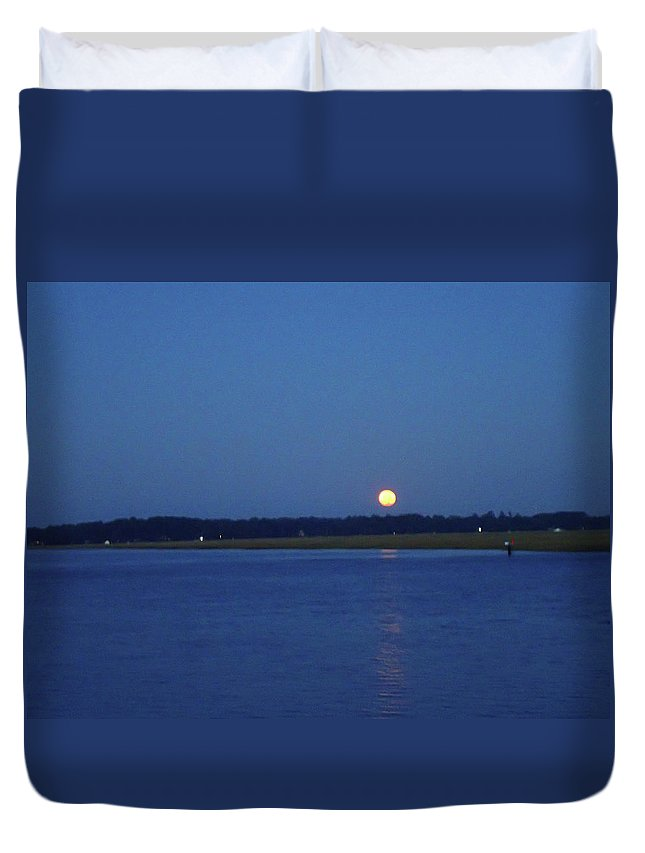 Moon Duvet Cover featuring the photograph Full Moon Setting Over Skidaway River by Iris Dayoub