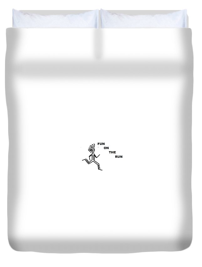 Drawingart Duvet Cover featuring the drawing Fun on the RuN by Andrew Johnson