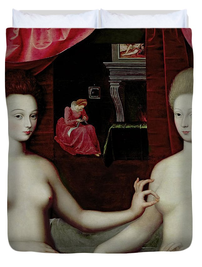 Gabrielle Destrees Duvet Cover featuring the painting Gabrielle Destrees And Her Sister, The Duchess Of Villars, 1594 by Gabrielle Destrees