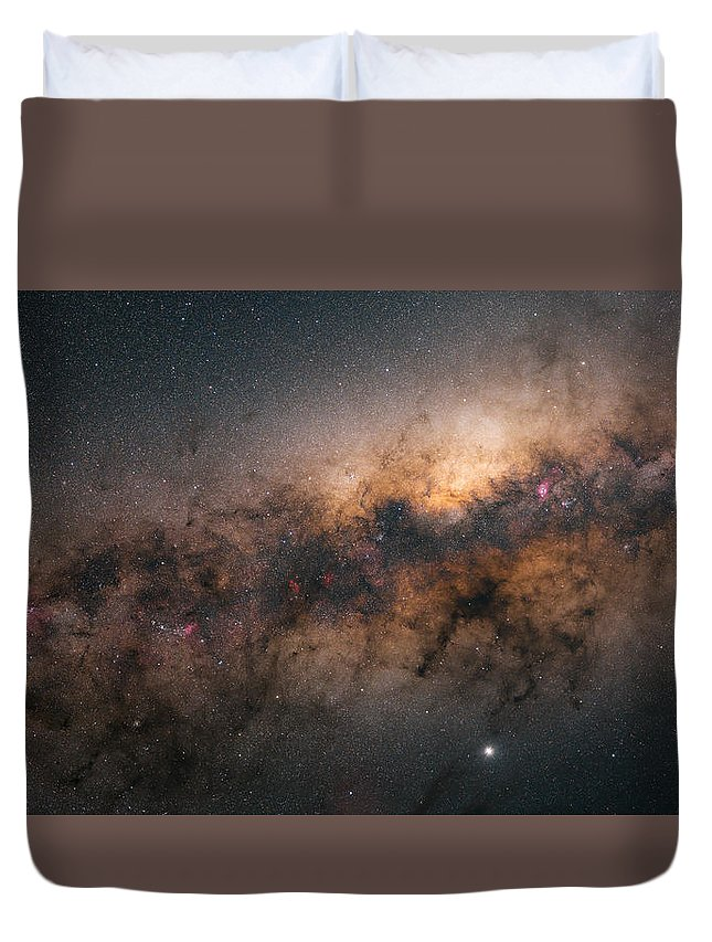 Stars Duvet Cover featuring the photograph Galactic Core by Bartosz Wojczynski