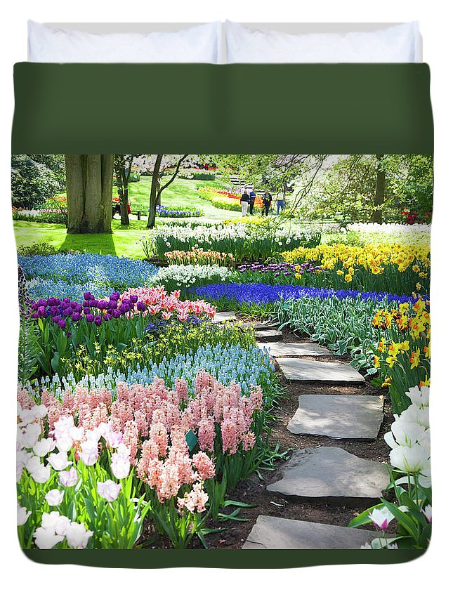 Flowerbed Duvet Cover featuring the photograph Garden Flowers 53 Xxxl by Lya cattel
