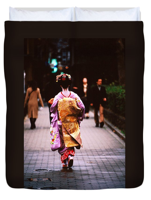 Headwear Duvet Cover featuring the photograph Geisha In Kimono Walking Away, Pontocho by Lonely Planet