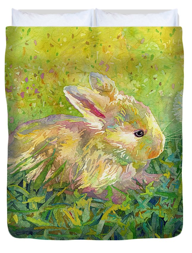 Rabbit Duvet Cover featuring the painting Gentle Wish by Hailey E Herrera