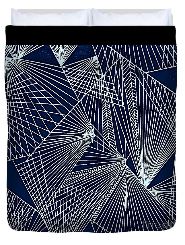 Geometric Patterns Duvet Cover featuring the painting Geometric Pattern 1-colour-2 by Katerina Stamatelos