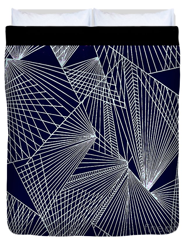 Geometric Patterns Duvet Cover featuring the painting Geometric Pattern 1-colour-7 by Katerina Stamatelos