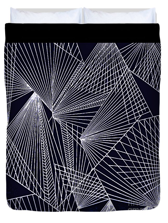 Geometric Patterns Duvet Cover featuring the painting Geometric Pattern 1-colour-8 by Katerina Stamatelos