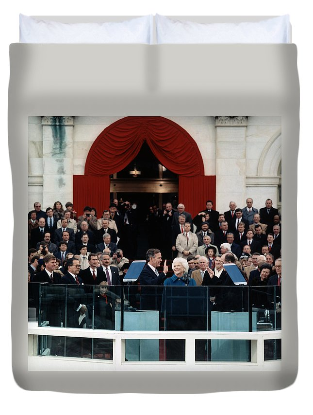President Bush Duvet Cover featuring the photograph George Bush Inauguration Ceremony - 1989 by War Is Hell Store