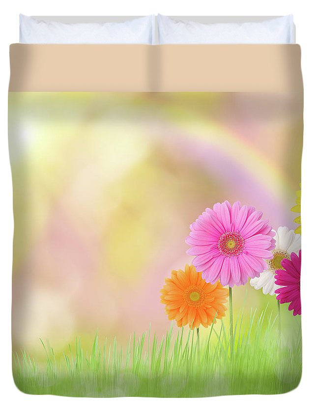Grass Duvet Cover featuring the photograph Gerbera Daisies In A Field With Rainbow by Liliboas