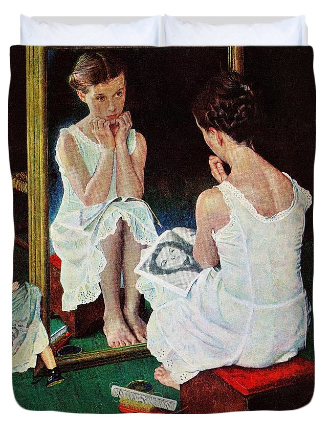 Actresses Duvet Cover featuring the drawing Girl At The Mirror by Norman Rockwell