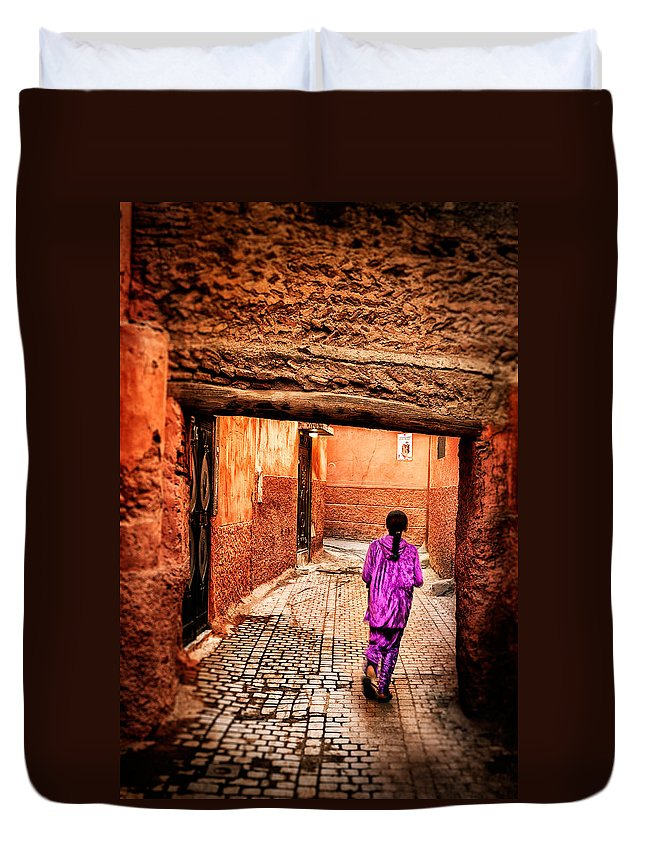 Child Duvet Cover featuring the photograph Girl In Marrakech by Nature And Beauty Photographer