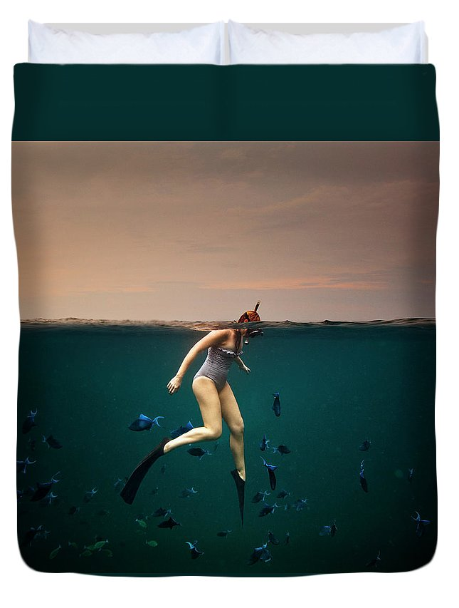 People Duvet Cover featuring the photograph Girl Snorkelling by Rjw