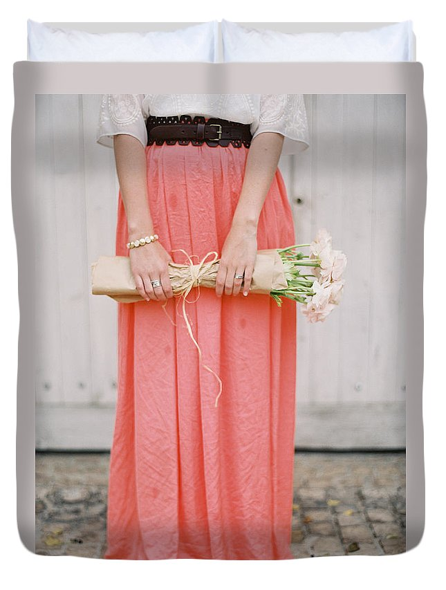 People Duvet Cover featuring the photograph Girl With Flowers by Photographed By Victoria Phipps ©