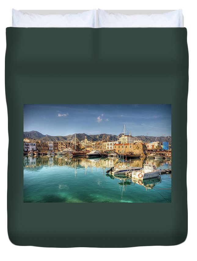 Tranquility Duvet Cover featuring the photograph Girne Kyrenia , North Cyprus by Nejdetduzen