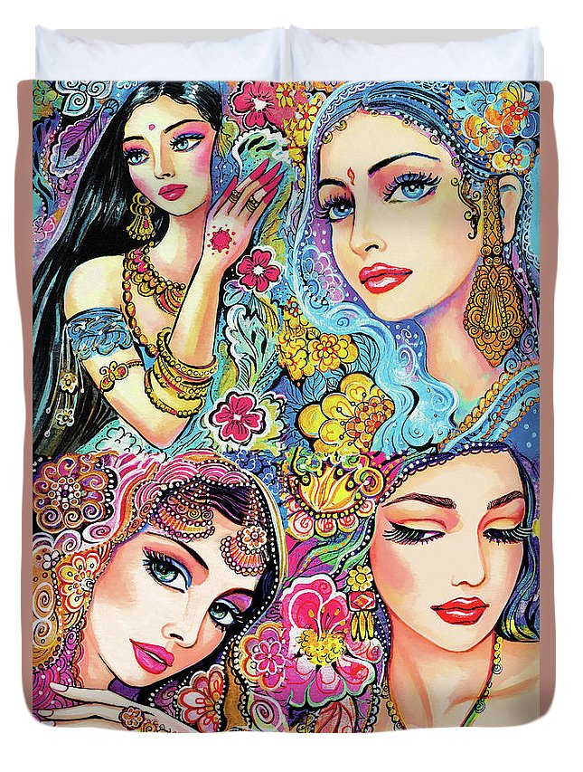 Bollywood Dancer Duvet Cover featuring the painting Glamorous India by Eva Campbell