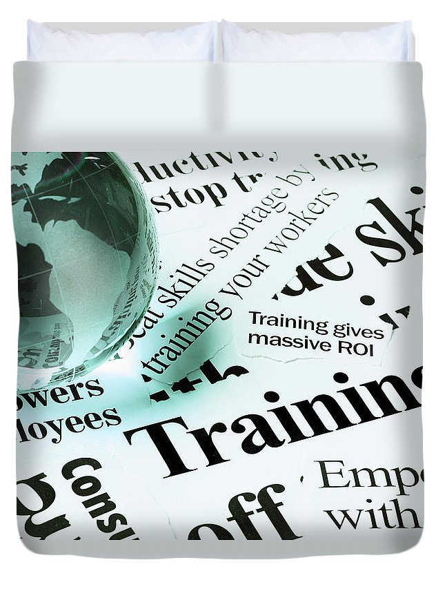 Employment And Labor Duvet Cover featuring the photograph Glass Globe Paperweight On Headlines by Rapideye