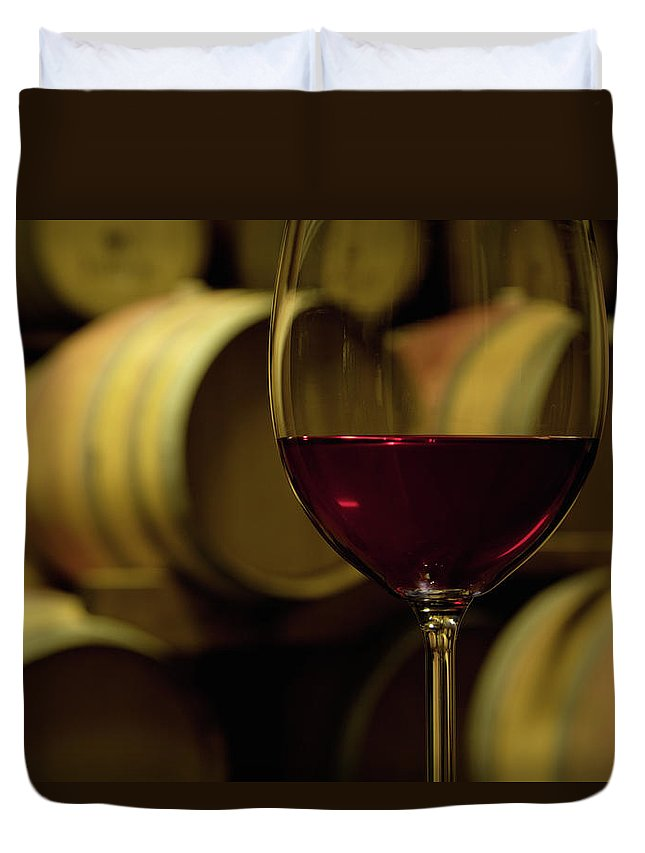 Stellenbosch Duvet Cover featuring the photograph Glass Of Red Wine In Wine Cellar by Siegfried Layda