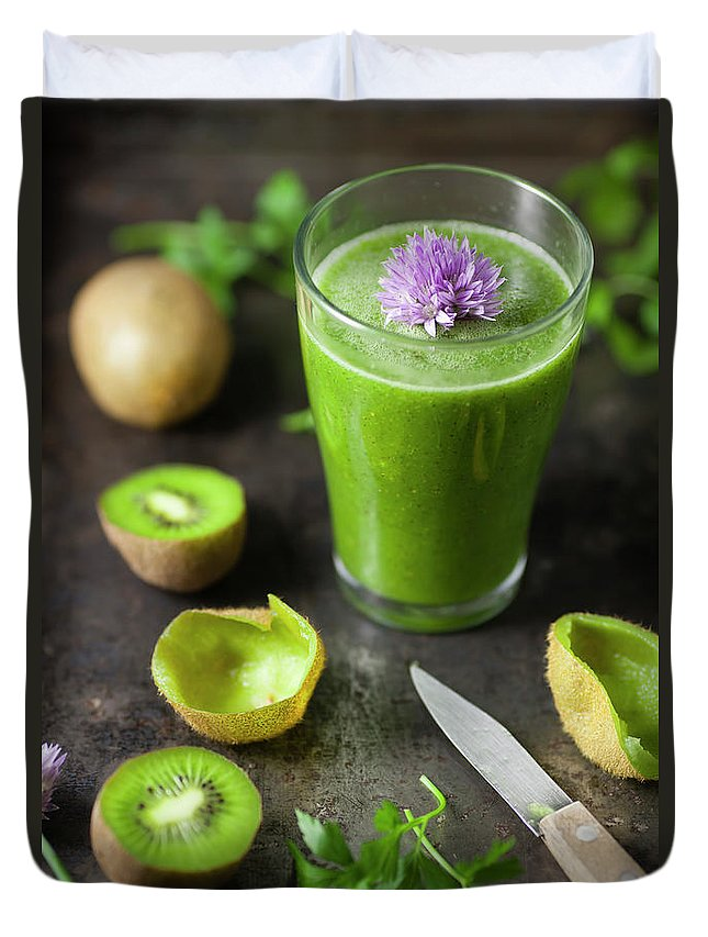 Cutting Board Duvet Cover featuring the photograph Glass Of Smoothie With Kiwi, Parsley by Westend61