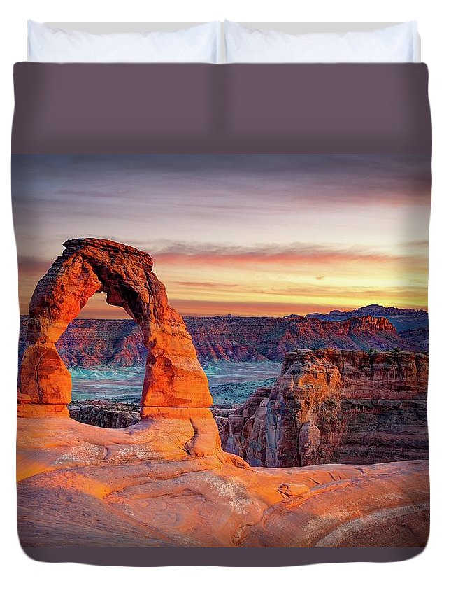 Scenics Duvet Cover featuring the photograph Glowing Arch by Mark Brodkin Photography