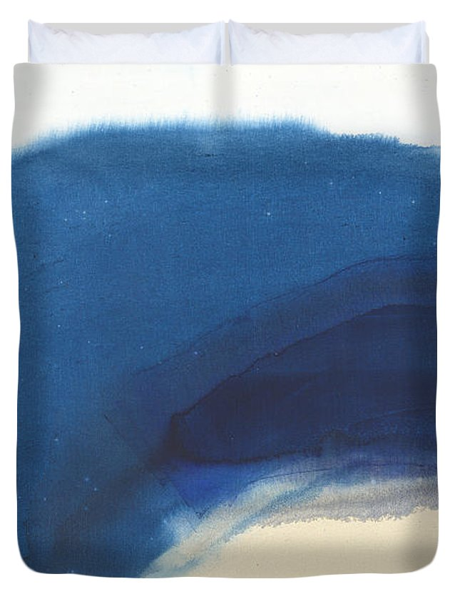 Abstract Duvet Cover featuring the painting Go Easy by Claire Desjardins